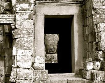 Cambodian Door 2- Digital Photography,Travel Art, Travel Photography, Door Photography, Black and White Door, Door Print, Cambodia Photo