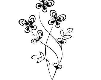 Butterfly Plant / Tree Wall Decal sticker art  room decor branch flower blossom  JA02