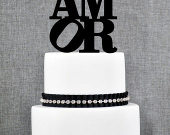 AMOR Wedding Cake Topper in your Choice of Colors, Modern Wedding Cake Topper, Unique Wedding Cake Topper- (T122)