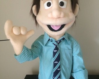 Custom Made Professional People Puppet Boy / Man / muppet with hand rods