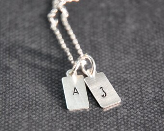 Two Personalized Hand Stamped Sterling Silver Rectangle Initial Pendants