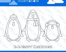 Penguins Colour in Christmas Card for Instant Download. Christmas colouring in printable. Christmas Card Download. Kids coloring PDF.