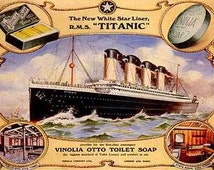 White Star Liner Cruise Ship Titanic Bathroom Soap ad art poster Ship Travel Giclee Print WIth Stretched Canvas Options