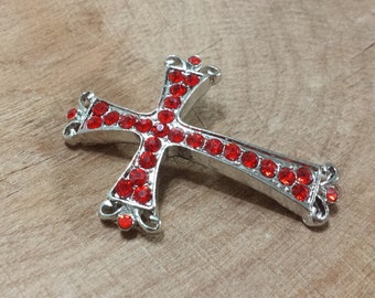 Siam Red Rhinestone Medieval Goth Style Cross Curved Bracelet Bar, Connector, Link, Finding, Focal Bead