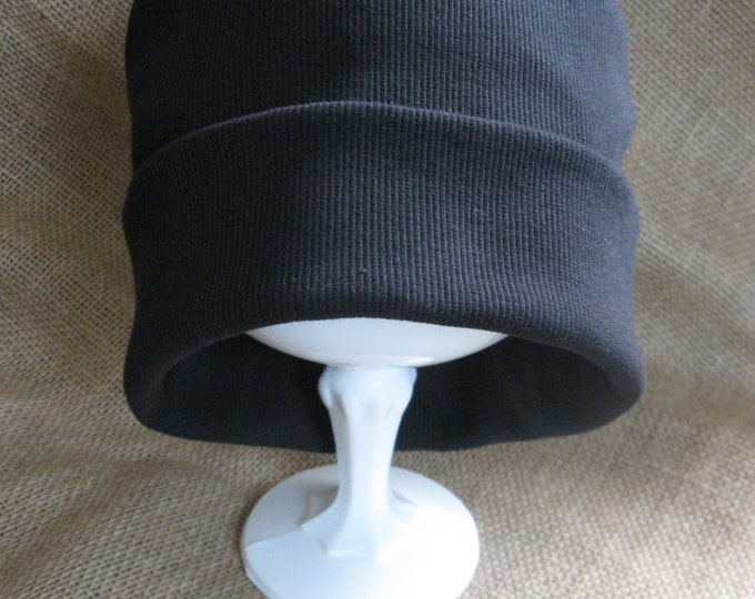 Chemo Hat Black Ribbed Cotton Chemo Cap Men's or Women's Cancer Headwear