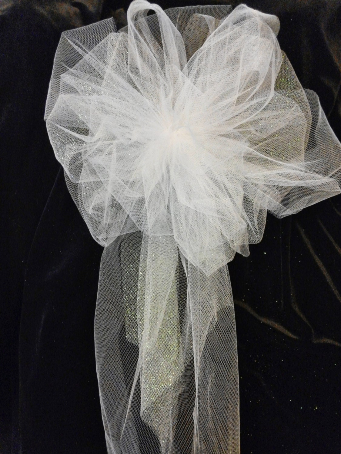 Wedding pew bows white or any color you choose tule bows - Bow decorations for weddings ...