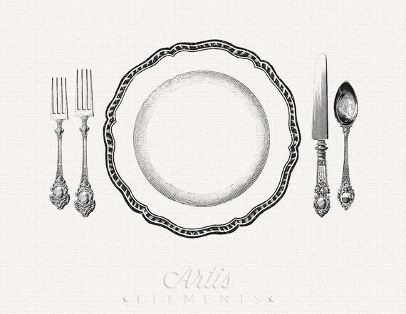 Messer und gabel clipart  Druckbare Gedeck Dinner Teller Messer Gabel Löffel