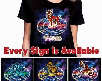 Zodiac Ladies T-Shirt - Horoscope Astrology Symbols - One of a Kind Original Artwork.