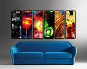 "Set of 6 Justice League 12"" x 36 x 1 1/2"" Art Canvases. Batman, Wonder Woman, Green Lantern, Superman, Aquaman, Flash"