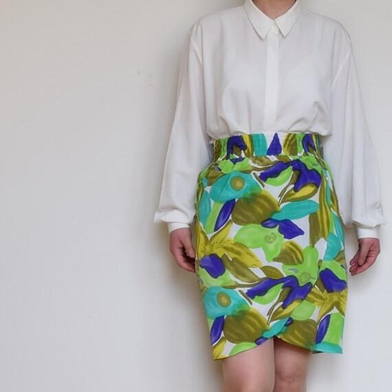 vintage 80s 90s wrap pencil skirt high waist floral