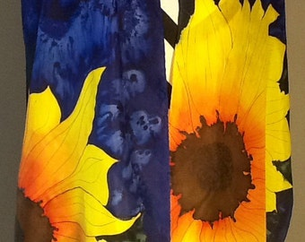 Hand painted  habotai silk scarf.  Yellow Sunflowers on a Navy background, made to order