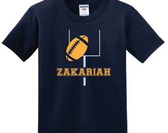 Personalized Football Goalpost T shirt, boy toddler football tee with name
