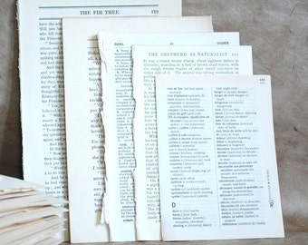 75 Mixed Book Pages, 3 x 25 pages, Paper Ephemera, 1900's old book pages, collage scrapbooking materials dictionary pages for craft