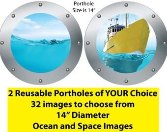 Ocean Wall Decals,Submarine Window,Sea Wall Art,Ocean Wall Murals,Sea Wall Decor,Porthole Windows Decals, Porthole Window Stickers  O11O12