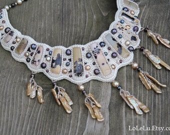 Bead Embroidery Necklace With Chinese Painting Jasper..... Ivory, Beige