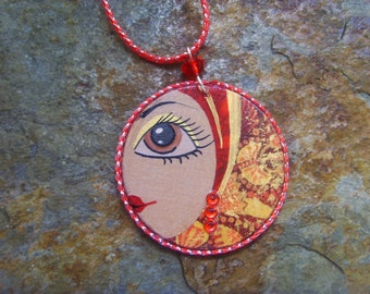 Pendant GIZA - freehand painted wood