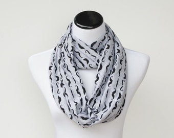 Gray scarf black mustache infinity scarf circle scarf soft funny loop scarf gift idea for her - gift for mom gift for girl