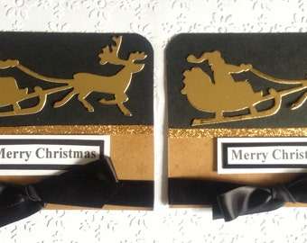 2 Handmade Black & Gold Santa Sleigh Merry Christmas Card Toppers for Card Making Christmas Scrapbooking Craft Project
