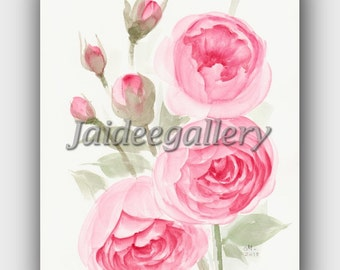 Watercolor flower painting on paper 8x10 in.Flower art - Original Watercolor floral painting -Floral art -100% handmade.