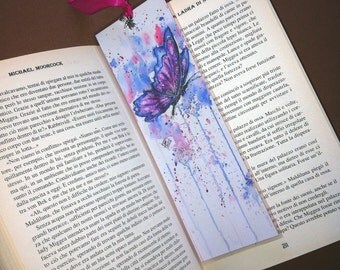 Watercolors Butterfly - Handmade Laminated Bookmark Print with Silver Charm