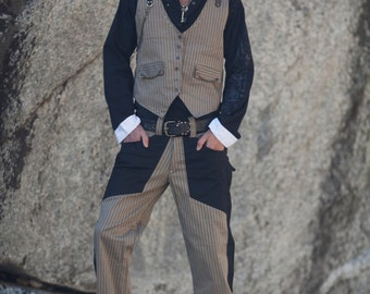 MENS SUIT -Medium, Tan, Two Piece Suit, Wedding, Burning Man, Festival Clothing, Steampunk, Victorian,  Stretch Cotton Canvas, Steezy Suit