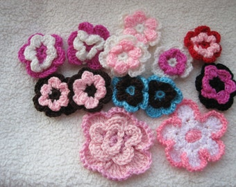 Lot of 13 - Crocheted Flower Clips for Adornment