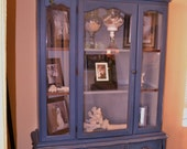 Bathroom Linens, Display Dining/ Living Cabinet Annie Sloan Chalk painted China Cabinet, Beachy Blue w Antique Grey inside- to be completed