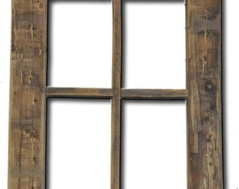 primitive rustic weathered wood window frame