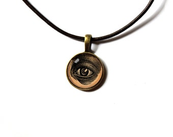 Antique macabre jewelry Human eye pendant Vintage style NW107