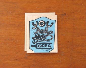 You Had Me at GCEA: Ukulele Screenprinted greeting card