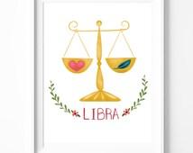 Libra - Zodiac Print - Astrology Print