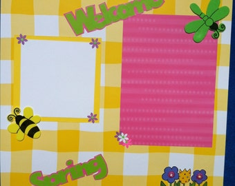 Welcome Spring 12x12 Scrapbook Page