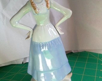 Blue and white porcelain figurine-Dutch milkmaid-vintage collectible