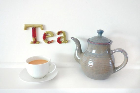 Tea Sign in Gold and Red Resin. Kitchen Decor, Beverage Sign, Tea Wall Sign, Tea Home Decor, Tea Wall Art, Tea Art, Tea Letters, Cup of Tea