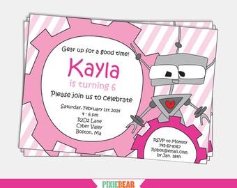 Robot Invitation - Robot Birthday Invitation - Robot Party Invitation - Girl Robot Birthday - Printable Invitation - Pink (Instant Download)