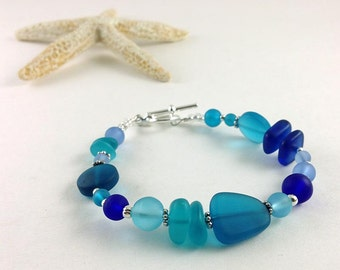 Blue sea glass bracelet sea glass jewelry handmade jewelry seaglass bracelet seaglass jewelry tumbled frosted glass cobalt beaded jewelry