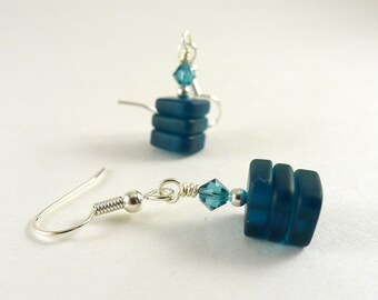 Dark blue sea glass earrings with Swarovski crystals tumbled frosted beaded jewelry geometric minimalist contemporary handmade jewelry beads