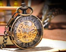 Men Vintage Pocket Watch Antique Watch Mechanical Hand Wind Skeleton Watch, Steampunk; Gift for Him, Anniversary, Weddings, Groomsman W#5