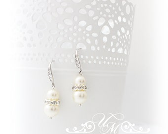 Wedding Jewelry Wedding Earrings Bridal Earrings Bridesmaid Earrings Dangle Earrings Swarovski Pearl Earrings Zircon earwires
