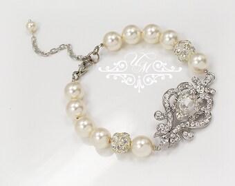 Wedding Jewelry Swarovski Pearl Bracelet Single strand Pearl Rhinestone Silver Bracelet Bridal Jewelry Bridesmaids jewelry  - NIKI