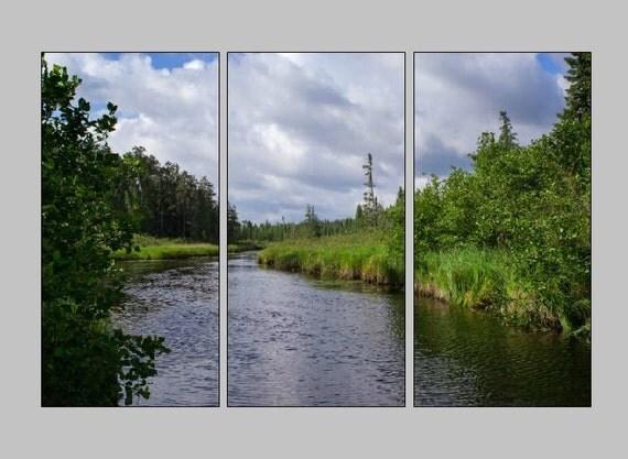 BWCA Triptych, Blue and Green, 3 Panel Art, Large Wall Art, Extra Large Photo, Photography Canvas, Oversized Art Print, Minnesota Landscape