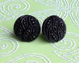 Classy Black Button Stud Post Earrings
