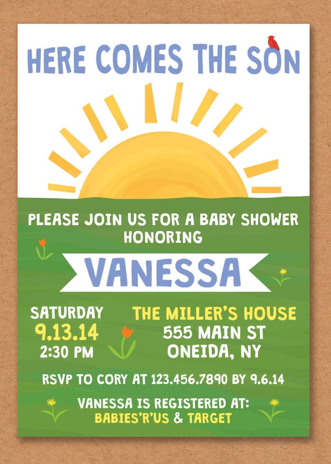here comes the son baby shower invitation boy baby shower