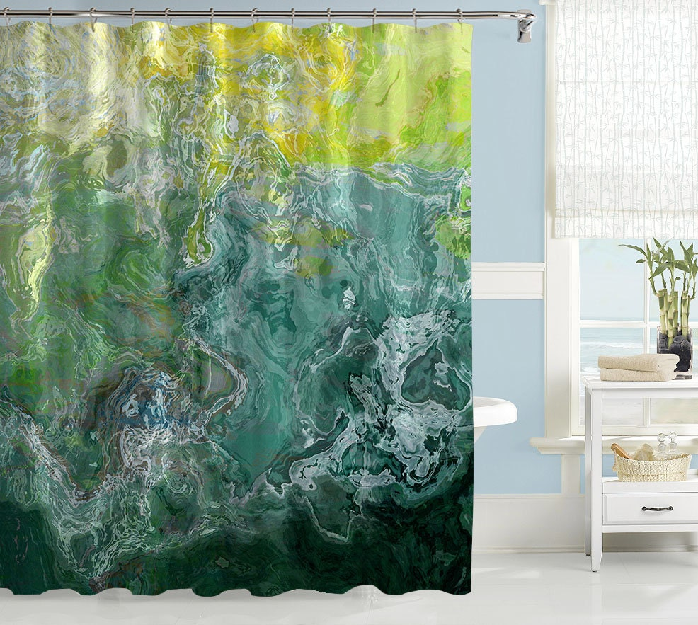 Abstract shower curtain contemporary bathroom decor green for Green modern curtains