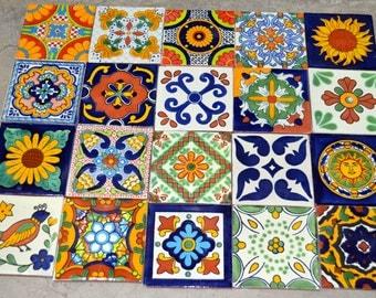 "100 Mexican Talavera Tile mix 4x4"""