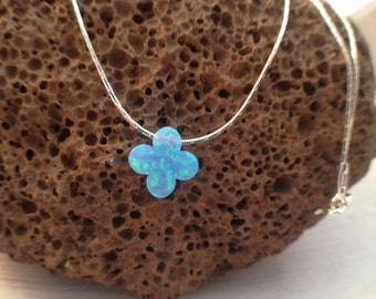 Clover opal necklace,  tiny four leaf clover light blue opal necklace, sterling silver or gold filled necklace, everyday women jewelry