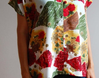Vintage Oversized Blouse with Colorful Abstract & Floral Print size L/XL