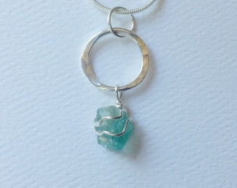 Rough Apatite Necklace, Blue Green Gemstone, Sterling Silver Circle Pendant, Sterling Snake Chain Necklace, Forged by LisaJStudioJeweler.