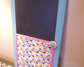 Cheerful Turquoise and Pink Chalkboard/Corkboard Message Center