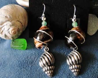 Wire Wrapped Seashell Earrings w/ Seashell Charms